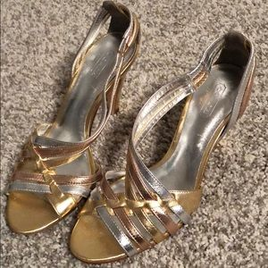 Coach gold, rose gold, and silver heels